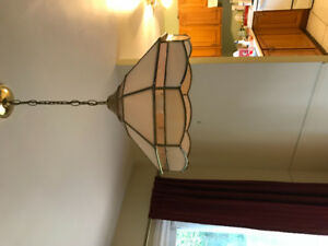 Pink and gold stained glass chandelier, excellent condition