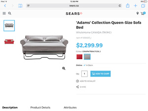 Sears grey QUEEN sofa bed. Smoke free