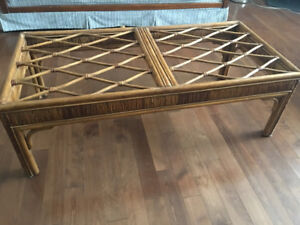 Wicker coffee table, side tables