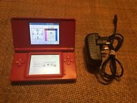 Red Nintendo DS Lite Console with Charger