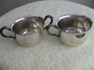 OLD VINTAGE PURITAN SILVER PLATED CREAM & SUGAR BOWL