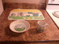 Vintage IKEA of Sweden Ceremic Child's Cup, Bowl and Placemat