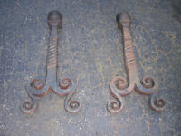 Antique Heavy Cast Iron Fireplace Andirons Fire Dogs