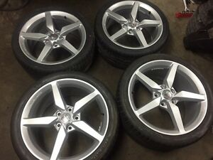 C7 corvette factory wheels and over sized tires $1850