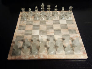 Chess Set- Pink and Grey Marble board