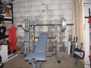 Weight Bench and Barbell Set
