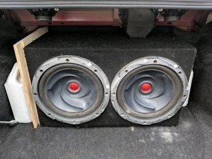 """TWO KENWOOD 10"""" SUBS WITH AMP"""