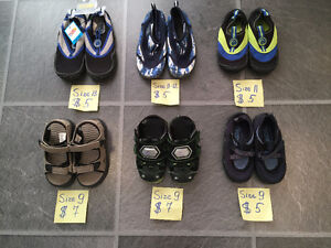 water shoes and sandals sizes 9, 11, 11-12, 13