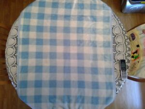 Gently used blue and white plush baby blanket,  32 X 42 inches