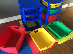 Toy Bins and soft floor mats
