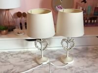 Dunelm heart table lamps shabby chic