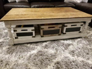 Rustic Solid Acacia Wood Coffee Table