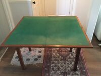 Card Table in teak with green baize