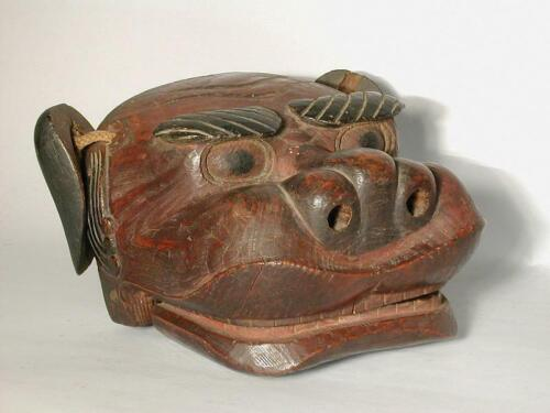 Wooden shishi mask, movable jaw and ears, for New Years lion dance, Japan