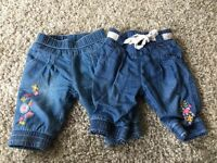Two Pairs of Baby Girls Jeans 0-3 Months