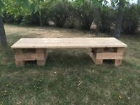 Wooden benches, DJ, Bar top