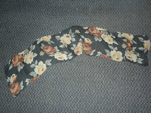 Dressy Black Sheer scarf with Floral Print
