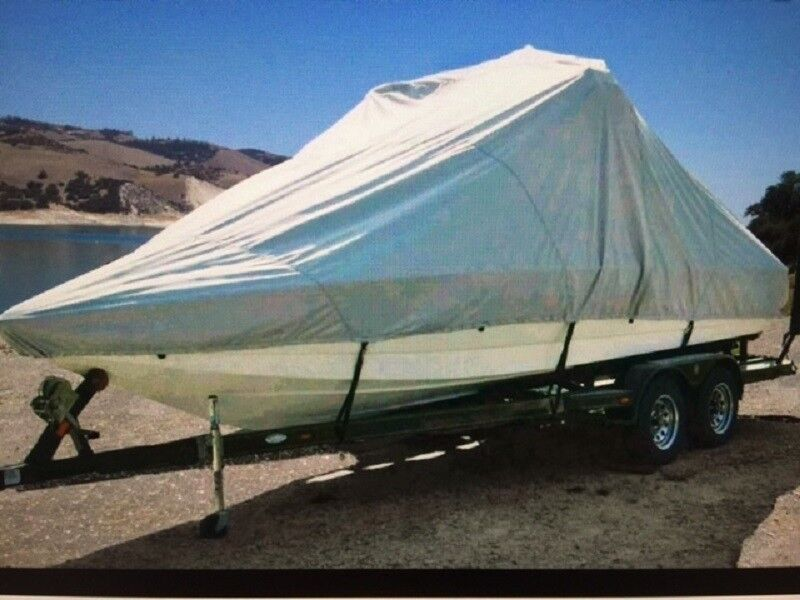 """7oz Storage Only Over the Tower Boat Cover for V-Hull - 22'7"""" - 23'6"""" x 102"""""""