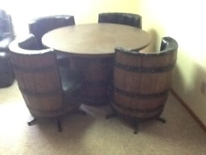 Whiskey / Wine Barrel table and stools set