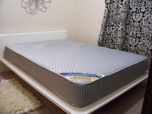 Stylish White Platform Double Bed Frame and Mattress for sale