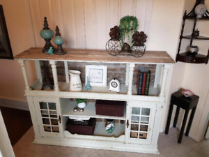 Solid wood distressed cabinet