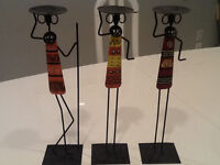 3 CANDLE HOLDER METAL FIGURINES, SOUTH AFRICAN DESIGNED