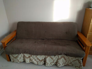 Futon with wooden frame