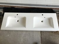 Twin Basin/Sink with integral led lighting strip