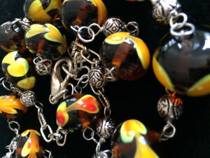 Necklace,  glass lampwork beads