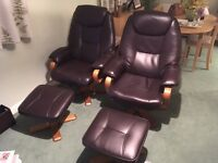 'Bjorn' bonded brown leather recliner chairs