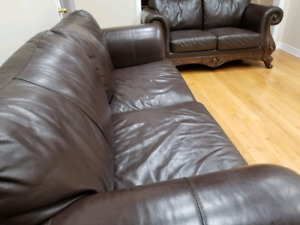 Real leather, antique 2 and 3 seater couches