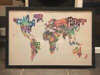 Framed typography world map