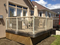 "Used ""Regal"" deck railing and pressure treated deck boards"