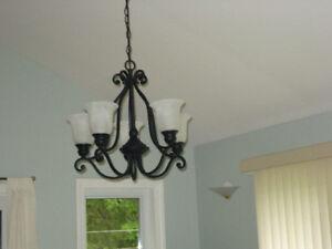 Beautiful wrought-iron chandelier.