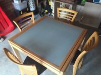 Extendable glass/beech dining table and 4 chairs
