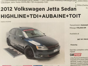 NEGOCIABLE VW JETTA TDI 2012 DIESEL HIGHLINE SEDAN SUN/MOONROOF