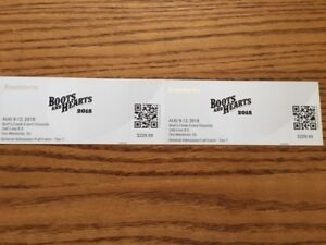 2 Hard Tickets Boots and Hearts Weekend Pss August 9-12