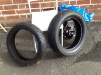 Front and rear tyres for motorcycle