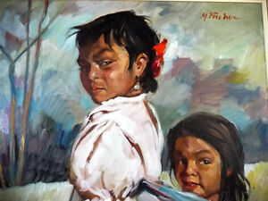 "Beautiful Indigenous Original Painting by M. Fischer ""Sisters"" Stratford Kitchener Area image 2"