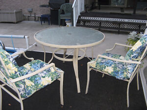 Round glass table and 2 chairs and cushions Kitchener / Waterloo Kitchener Area image 2