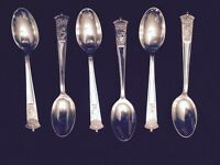 Antique 1937 Coronation King George VI Silver Plated Spoons (6)