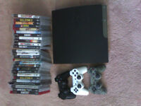 PS3 with 3 controllers and lots of games