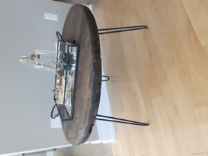"""30"""" cable reel coffee table with hairpin legs"""