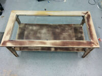 Coffee table/ Table basse- unfinished wood with glass top