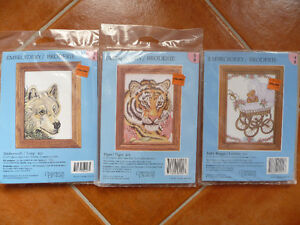 3 Brand New 5x7 Inch (13x18 cm) Embroidery Kits