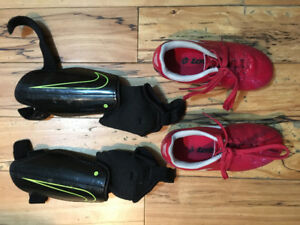 Soccer shoes (size boys 10) and shin guards