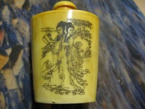 Antique painted bone Chinese Snuff Bottle