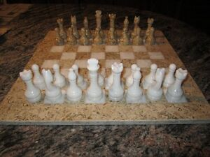Vintage Marble Onyx Chess Set With Velvet Presentation Case