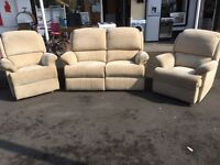 Nice three-piece suite reclining chairs