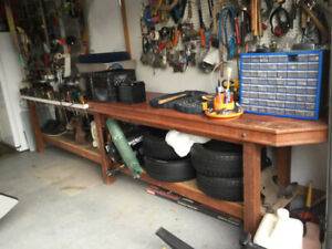 """Workshop Bench Large Solid Wood 14 'Lx2'Wx3""""H4 Cost $1000.00"""